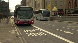 Bus lane in Belfast city centre