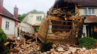 The collapsed house