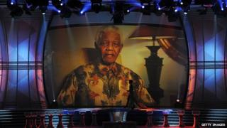 Nelson Mandela at the World Cup draw 2009