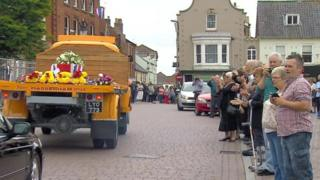 Jack Richards' coffin on lorry, Fakeham
