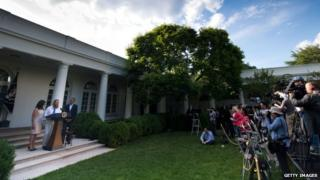 Press gather to cover President Barack Obama's announcement of Sgt Bowe Bergdahl's release on 31 May, 2014.