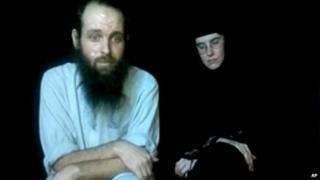 This frame grab from video provided by the Coleman family shows Caitlan Coleman and Joshua Boyle