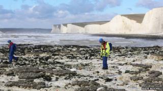 Beach search for tug crewman