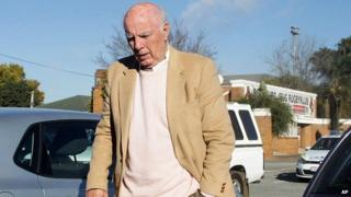 Bob Hewitt is seen outside the magistrates court in Boksburg, South Africa, on 6 June 2014.