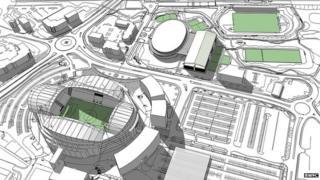 Artist's impression of the redevelopment around the Reebok Stadium