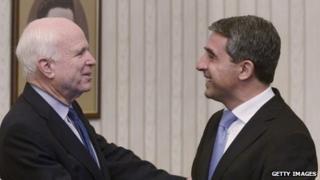 Bulgarian president Rosen Plevneliev and US senator John McCain