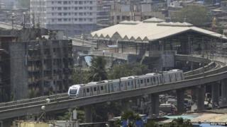 The first line of Mumbai's new metro service covers about eight miles