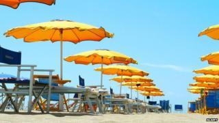 Tuscany beach umbrellas