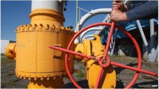 Worker on a gas pipeline in western Ukraine (file image)