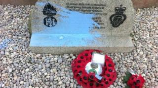Paint was thrown over the memorial