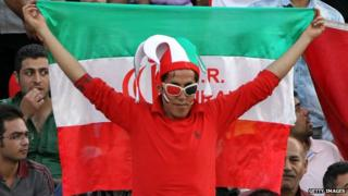 An Iranian fan at a World Cup qualifying game