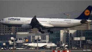 Lufthansa airplane lands at the Fraport airport in Frankfurt