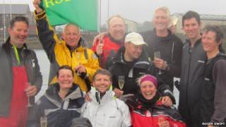 Crew of the Cheeki Rafiki at the 2013 Fastnet Race