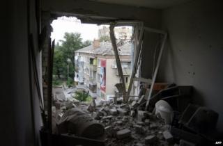 A ruined flat in Sloviansk, eastern Ukraine, 10 June