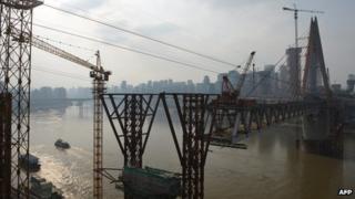 Construction along Yangtze river
