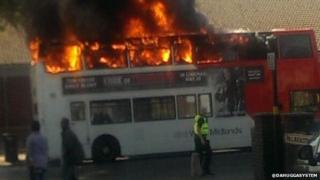 Bus fire Sparkbrook