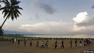 Jogging by Lake Tanganyika