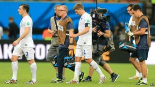 TV camera filming England team