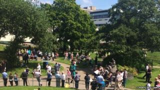 People evacuated outside the hospital