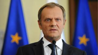 Polish PM PM Donald Tusk speaks during a news conference at the Prime Minister Chancellery in Warsaw on 16 June 2014.