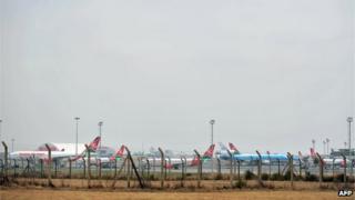 Kenya Airways airliners at Nairobi's Jomo Kenyatta International Airport on 14 August 2009