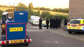 police at the scene in Greenstead, Colchester