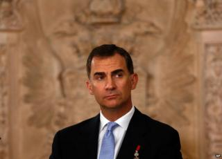 King Felipe VI of Spain at the signing of the abdication decree by his father Juan Carlos (18 June 2014)