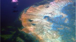 Picture of the Great Barrier Reef, which can be seen from space.