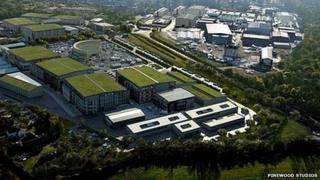 Aerial view of Pinewood Studios