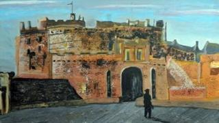 A painting of Edinburgh Castle with a silhouette walking in. It is pastel.