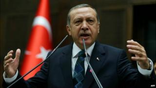 Prime Minister Erdogan addresses members of his ruling AK Party during a meeting at the Turkish Parliament in Ankara - 17 June 2014