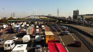 Traffic on the Dartford bridge