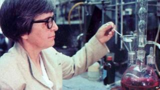 This undated photo made available by DuPont shows chemist Stephanie Kwolek at the DuPont Labs in Delaware.