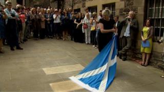 Germaine Greer unveils flagstone