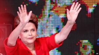 Dilma Rousseff at the party conference in Brasilia