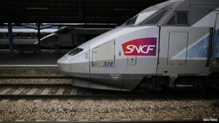 File photo: A French High Speed Train (TGV) made by French train maker Alstom at Nantes railway station, western France, 18 June 2014
