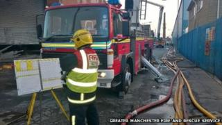 Fire at a recycling warehouse in Kenyon Street, Ramsbottom