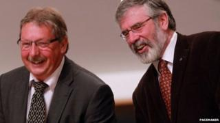 Sammy Wilson and Gerry Adams, pictured in 2013 during President Obama's visit to Belfast