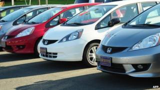 Honda fit cars on display
