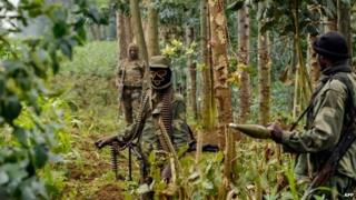 Congolese soldiers on patrol on the border with Rwanda - 14 June 2014