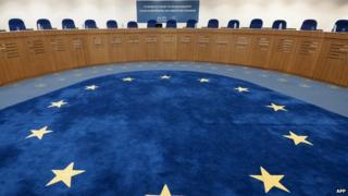 The European flag is pictured of the floor of a hearing room at the European Court of Human Rights, 27 November 2013.