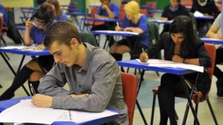 A student sitting GCSEs
