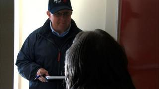 Jersey postal worker checking on an islander