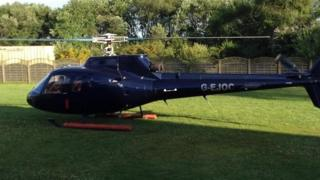 The helicopter arriving for the Prom