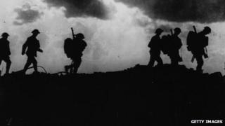 Soldiers head to the trenches