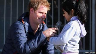 Prince Harry meets children with mental and physical disabilities in Chile