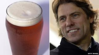 Pint of beer and comedian John Bishop
