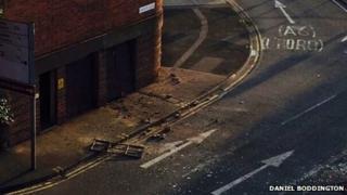 Debris on road after explosion