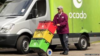 Ocado delivery man with boxes and van