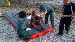 Boy saved from quicksand